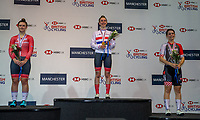 26th January 2020; National Cycling Centre, Manchester, Lancashire, England; HSBC British Cycling Track Championships; Women's points race medallists from L to R, Jenny Holl Team Breeze silver, Anna Shackley Team Breeeze gold, Sophie Lewis Team Flamme Rouge bronze