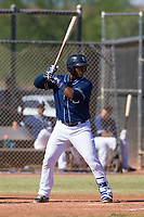 Jason Pineda (30) of the San Diego Padres at bat during an Instructional League game against the Milwaukee Brewers on September 27, 2017 at Peoria Sports Complex in Peoria, Arizona. (Zachary Lucy/Four Seam Images)
