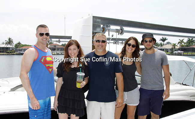 John Driscoll, Melissa Archer, Scott (boat owner), Bryan Craig & Kelly Thiebaud - General Hospital at 15th Soapfest Weekend 2014 on May 24, 2104 on Marco Island, Florida relax after giving their time charity on a boat.  (Photo by Sue Coflin/Max Photos)