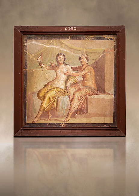 1 cent AD Roman Erotic  fresco depicting Mars and Venus  Pompeii (VI, 9, 2,) Casa die Meleagro, inv 9250, 1st century AD, Naples Archaological Museum , Italy