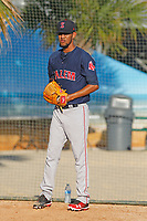 Salem Red Sox pitcher Roniel Raudes (17) in the bullpen before a game against the Myrtle Beach Pelicans at Ticketreturn Field at Pelicans Ballpark on June 8, 2018 in Myrtle Beach, South Carolina. Myrtle Beach defeated Salem 5-4. (Robert Gurganus/Four Seam Images)