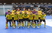 20200129 – Herentals , BELGIUM : Belgian team with Belgian Pietro Benetti ,  Belgian Abdelhalim Ettalaki , Belgian Abdelhakim Sababti ,  Belgian Marvin Ghislandi , Belgian Kenneth Vanderheyden ,  Belgian Moustafa Idrissi , Belgian Mohamed Dahbi Reda ,  Belgian Lucas Diniz Pinheiro , Belgian Souliemane Ouadi ,  Belgian Omar Rahou ,  Belgian Ibrahim Adnane , Belgian Rafael Bruno Teixeira , Belgian Steven Dillien and Belgian Leo pictured posing for the teampicture during a futsal indoor soccer game between Armenia and  the Belgian Futsal Devils of Belgium on the first matchday in group B of the UEFA Futsal Euro 2022 Qualifying or preliminary round , Wednesday 29 th January 2020 at the Sport Vlaanderen sports hall in Herentals , Belgium . PHOTO SPORTPIX.BE | DAVID CATRY