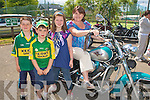 BIKER MUM: Geraldine Murphy showing to kids how to do at the Ireland Bike Fest in Killarney on Sunday l-r: Sean Murphy, Matt McAuliffe, Ellen and Geraldine Murphy.