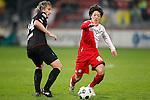Nederland, Utrecht, 30 maart 2012.Eredivisie .Seizoen 2011-2012.FC Utrecht-Excelsior (3-2).Yoshiaki Takagi van FC Utrecht en Joost Broerse van Excelsior strijden om de bal