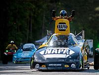 May 5, 2019; Commerce, GA, USA; NHRA funny car driver Ron Capps celebrates after winning the Southern Nationals at Atlanta Dragway. Mandatory Credit: Mark J. Rebilas-USA TODAY Sports