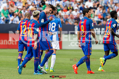 FC Barcelona's Leo Messi Luis Suarez Neymar Santos Jr Rafinha Alcantara Gerard Pique  during the match of La Liga between Club Deportivo Leganes and Futbol Club Barcelona at Butarque Estadium in Leganes. September 17, 2016. (ALTERPHOTOS/Rodrigo Jimenez) /NORTEPHOTO