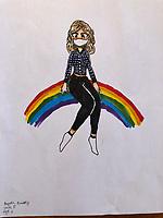 Woman with mask on rainbow. Drawing by Gwyneth Powderly Grade 5, Yarmouth, ME, USA