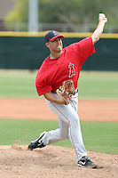 Max Russell #74 of the Los Angeles Angels plays in a minor league spring training game against the Chicago Cubs at the Angels minor league complex on April 3, 2011  in Tempe, Arizona. .Photo by:  Bill Mitchell/Four Seam Images.