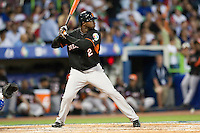 11 March 2009: #2 Yurendell DeCaster of the Netherlands is seen at bat during the 2009 World Baseball Classic Pool D game 6 at Hiram Bithorn Stadium in San Juan, Puerto Rico. Puerto Rico wins 5-0 over the Netherlands