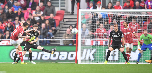 21st October 2017, Ashton Gate, Bristol, England; EFL Championship football, Bristol City versus Leeds United; Marlon Pack of Bristol City takes a shot at goal