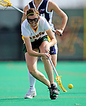 9 April 2008: University of Vermont Catamounts' Midfielder Kristen Millar, a Junior from Whitby, Ontario, picks up possesion against the University of New Hampshire Wildcats at Moulton Winder Field, in Burlington, Vermont. The Catamounts rallied to defeat the visiting Wildcats 9-8 in America East divisional play...Mandatory Photo Credit: Ed Wolfstein Photo