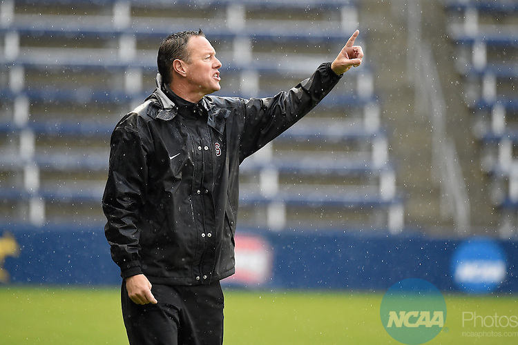 13 DEC 2015: Stanford University Head Coach Jeremy Gunn calls out instructions during the Division I Men's Soccer Championship held at Sporting Park in Kansas City, MO.  Stanford defeated Clemson 4-0 for the national title.  Mike Gunnoe/NCAA Photos