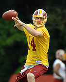 Ashburn, VA - June 16, 2007 -- Washington Redskin rookie quarterback Sam Hollenbach (14) throws a pass as he  participates in the second day of the second and final mini-camp at Redskin Park in Ashburn, Virginia on Saturday, June 16, 2007..Credit: Ron Sachs / CNP