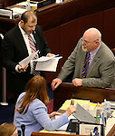 From left, Nevada Assembly Majority Leader Paul Anderson, R-Las Vegas, Minority Leader Marilyn Kirkpatrick, D-North Las Vegas, and Assemblyman Randy Kirner, R-Reno talk on the Assembly floor at the Legislative Building in Carson City, Nev., on Monday, April 6, 2015. <br /> Photo by Cathleen Allison