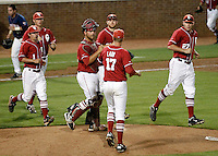 Oklahoma celebrates the 5-4 victory over Virginia in game 6 of an NCAA college baseball regional game in Charlottesville, VA., Sunday, June 3, 2012.  (Photo/The Daily Progress/Andrew Shurtleff)