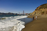 San Francisco: Baker Beach with Golden Gate Bridge in background.  Photo # 2-casanf83433.  Photo copyright Lee Foster