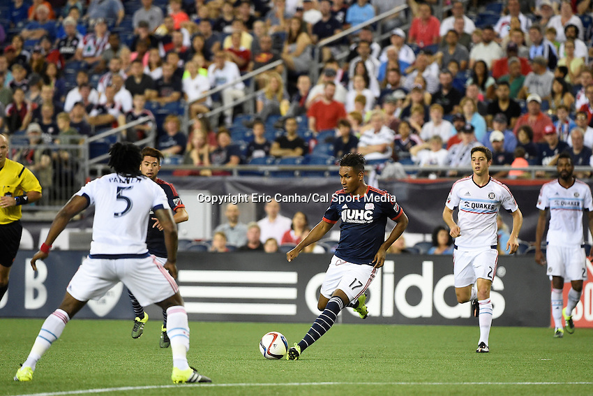 June 13, 2015 - Foxborough, Massachusetts, U.S. - New England Revolution forward Juan Agudelo (17) in game action during the MLS game between Chicago Fire and the New England Revolution held at Gillette Stadium in Foxborough Massachusetts. The Revolution defeated the Fire 2-0. Eric Canha/CSM
