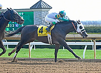 LEXINGTON, KY - APRIL 7: #4, Warrior's Club, ridden by Luis Contreras, wins the G3 Commonwealth at Keeneland Race Course on April 7, 2018 in Lexington, KY. (Photo by Jessica Morgan/Eclipse Sportswire/Getty Images)