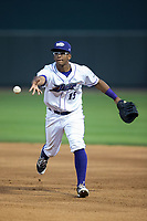 Louis Silverio (15) of the Winston-Salem Dash flips the ball towards first base during the game against the Myrtle Beach Pelicans at BB&T Ballpark on May 11, 2017 in Winston-Salem, North Carolina.  The Pelicans defeated the Dash 9-7.  (Brian Westerholt/Four Seam Images)