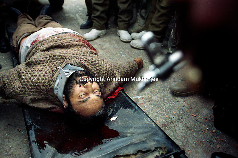Dead body of Gulam Rassol Dar alias Gazi Naseeb uddin the chief operational commander of Hizbul Mujahidin (the most active pro pakistan guerilla militants in Kashmir valley) after an encounter at outskirts of Srinagar, Kashmir valley, India