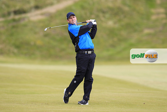 Thomas AIKEN (RSA) plays his 2nd shot on the 9th hole during Saturday's Round 3 of the 2015 Dubai Duty Free Irish Open, Royal County Down Golf Club, Newcastle Co Down, Northern Ireland 5/30/2015<br /> Picture Eoin Clarke, www.golffile.ie