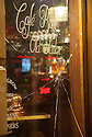 Damage to the window of the Old Sailor Pub in the red light district of Amsterdam after it was attacked by Ajax fans.