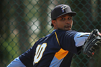 Myrtle Beach Pelicans pitcher Luis Parra #40 throwing in the bullpen during a team workout at Ticketreturn.com Field at Pelicans Ballpark on April 1, 2014 in Myrtle Beach, South Carolina. (Robert Gurganus/Four Seam Images)