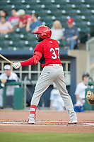 Springfield Cardinals outfielder Randy Arozarena (37) awaits a pitch during an at-bat on May 16, 2019, at Arvest Ballpark in Springdale, Arkansas. (Jason Ivester/Four Seam Images)