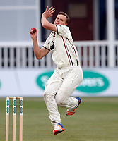 Will Gidman bowls for Kent during the County Championship Division 2 game between Kent and Gloucestershire at the St Lawrence Ground, Canterbury, on Fri 13 Apr, 2018.