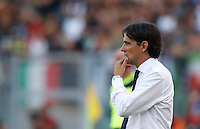Calcio, Serie A: Lazio vs Juventus. Roma, stadio Olimpico, 27 agosto 2016.<br /> Lazio coach Simone Inzaghi follows the game during the Serie A soccer match between Lazio and Juventus, at Rome's Olympic stadium, 27 August 2016. Juventus won 1-0.<br /> UPDATE IMAGES PRESS/Isabella Bonotto