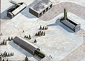 "United States Department of Defense released its 1985 assessment of Soviet Military Power at the Pentagon in Washington, DC on April 2, 1985.  The release stated ""with the testing of the SS-X-25 ICBM (Inter-Continental Ballistic Missile), the USSR is violating the SALT II provision prohibiting more than one new type of ICBM""<br /> Credit: Department of Defense via CNP"