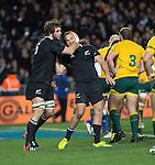 Sam Whitlock (L) and Israel Dagg. All Blacks beat Australia 22-0. Eden Park, Auckland. 25 August 2012. Photo: Marc Weakley