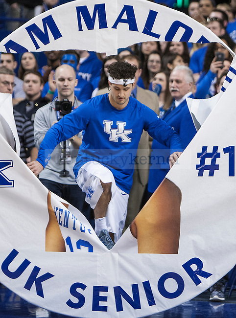 Senior Sam Malone of the Kentucky Wildcats takes the court prior to the game against the Florida Gators at Rupp Arena on Saturday, March 7, 2015 in Lexington, Ky. Kentucky leads Florida 30-27 at the half. Photo by Michael Reaves | Staff.
