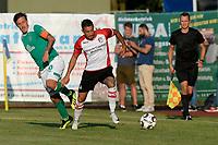 LEER - Voetbal , Werder Bremen - FC Emmen, oefenduel, seizoen 2018--2019, 04-09-2018, FC Emmen speler Caner Cavlan  met Max Kruze