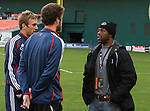 17 November 2007: ESPN sideline reporter Alan Hopkins (r) talks with Taylor Twellman (l) and Pat Noonan. The New England Revolution practiced at RFK Stadium in Washington, DC one day before playing in MLS Cup 2007, Major League Soccer's championship game.