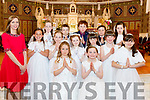 Pupils from Curranes NS who made their First Holy Communion last Saturday morning in St Stephan's&John's church, Castleisland were Coly O'Connor, Oisin McKenna, Colm Quirke, Moya McAulliffe, Alana O'Mahony, Rosalyn Douglas, Roisin Bell, Meadbh Courtney, Buby Walmsley, Chloe O'Donoghue, Cadhla O'Connell, Lynsey Burke and Aimee O'Connor with their teacher Eimear Nelligan.