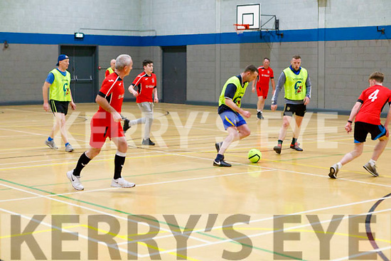 Action from the Patrick Griffin Memorial indoor soccer tournament in the Listowel Community centre on Thursday.