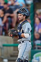 West Michigan Whitecaps catcher Joey Morgan (28) during a game against the Kane County Cougars on July 19, 2018 at Northwestern Medicine Field in Geneva, Illinois.  Kane County defeated West Michigan 8-5.  (Mike Janes/Four Seam Images)