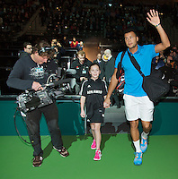 10-02-14, Netherlands,Rotterdam,Ahoy, ABNAMROWTT,, , Jo-Wilfried Tsonga(FRA) walk on<br /> Photo:Tennisimages/Henk Koster