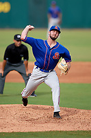 St. Lucie Mets starting pitcher Joe Shaw (34) delivers a pitch in front of umpire Jose Navas during a game against the Florida Fire Frogs on July 23, 2017 at Osceola County Stadium in Kissimmee, Florida.  St. Lucie defeated Florida 3-2.  (Mike Janes/Four Seam Images)