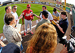 14 March 2007: St. Louis Cardinals manager Tony La Russa answers questions posed by the media prior to the Cardinals hosting the Washington Nationals at Roger Dean Stadium in Jupiter, Florida...Mandatory Photo Credit: Ed Wolfstein Photo