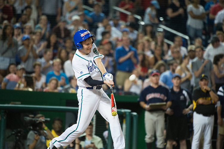 UNITED STATES - JUNE 23: Sen. Chris Murphy, D-Conn., bats during the Republicans' 8-7 victory in the 55th Congressional Baseball Game at Nationals Park, June 23, 2016. (Photo By Tom Williams/CQ Roll Call)