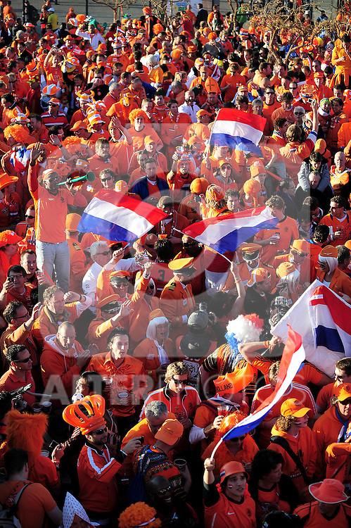 Fans get into the mood before the 2010 FIFA World Cup South Africa  Final match between Holland and Spain at Soccer City  on 11 July, 2010 in Johannesburg, South Africa.