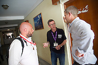 Jon Barden, Humanitarian advisor for DFID and UK government lead for the UKEMT, talks to colleagues from Save the Children at the Nepal Medical College and Teaching Hospital in Kathmandu.<br /> <br /> Picture: Russell Watkins/DFID