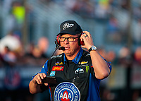 Oct 12, 2018; Concord, NC, USA; Jimmy Prock, crew chief for NHRA funny car driver Robert Hight (not pictured) during qualifying for the Carolina Nationals at zMax Dragway. Mandatory Credit: Mark J. Rebilas-USA TODAY Sports