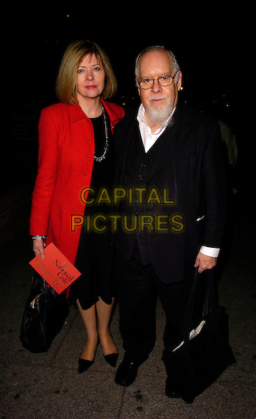 SIR PETER BLAKE & WIFE.The National Cafe Launch Party, National Gallery, London, UK..OCtober 26th, 2006.Ref: CAN.full length black jacket red married husband.www.capitalpictures.com.sales@capitalpictures.com.©Can Nguyen/Capital Pictures