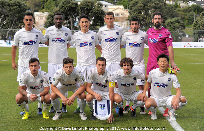 The Auckland City FC starting XI before the Oceania Football Championship final (second leg) football match between Team Wellington and Auckland City FC at David Farrington Park in Wellington, New Zealand on Sunday, 7 May 2017. Photo: Dave Lintott / lintottphoto.co.nz