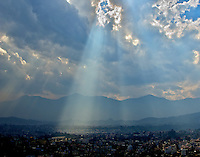 Streams of Sunlight on Kathmandu view from the Pasuati Nath Buddhist Monkey Temple, Kathmandu, Nepal