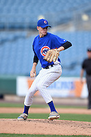 Chandler Day (39) of Watkins Memorial High School in Granville, Ohio playing for the Chicago Cubs scout team during the East Coast Pro Showcase on July 31, 2014 at NBT Bank Stadium in Syracuse, New York.  (Mike Janes/Four Seam Images)