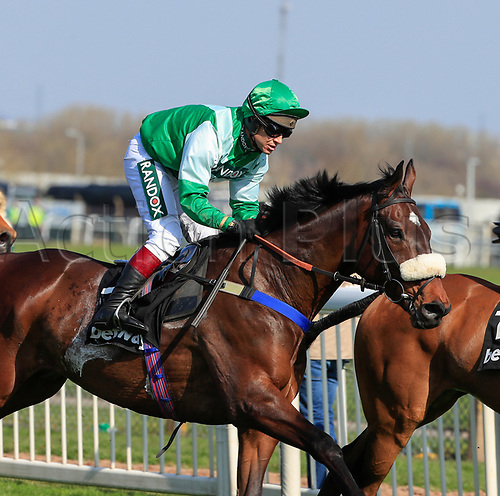 14h April 2018, Aintree Racecourse, Liverpool, England; The 2018 Grand National horse racing festival sponsored by Randox Health, day 3; Richard Johnson on Thomas Patrick on his way to winning The Betway Handicap Steeple Chase